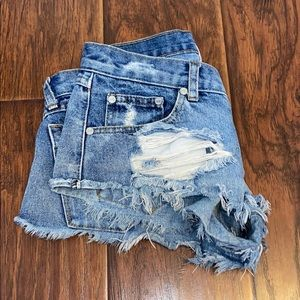 One Teaspoon Trash Whores Distressed Ripped Shorts